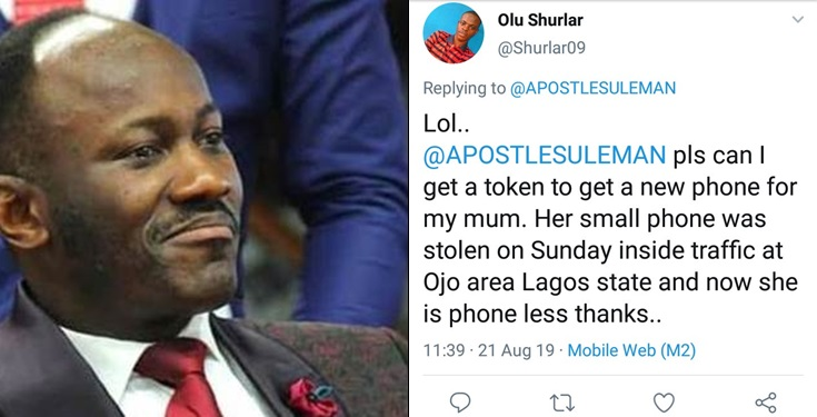 Apostle Suleman savagely replies a follower who begged for money