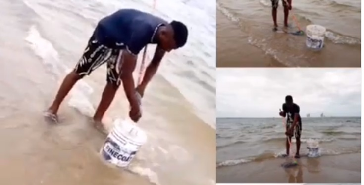 Mentally unstable Nigerian man seen mopping the Atlantic Ocean