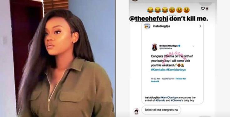 Chioma reacts to birth news