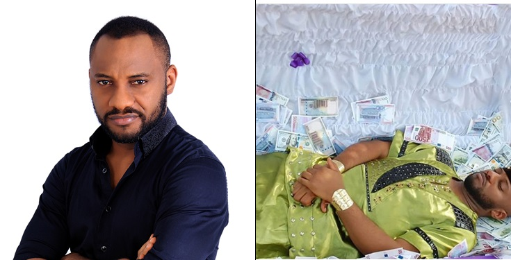 Yul Edochie Pictured Inside Casket With Different Currencies
