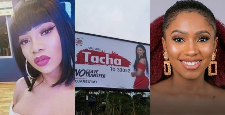 BBNaija: Trouble As Tacha's billboard gets destroyed in Mercy's town