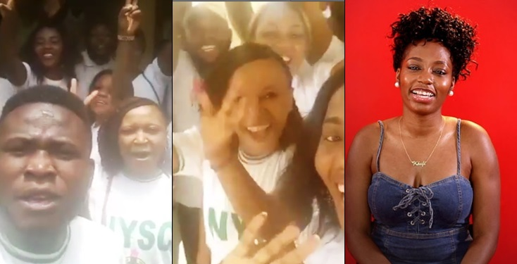 BBNaija: Youth Corp Members Step Out In Mass To Show Support For Khafi