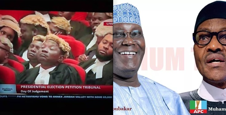 Lawyers fall into sleep as presidential election tribunal decides Atiku and Buhari's fate