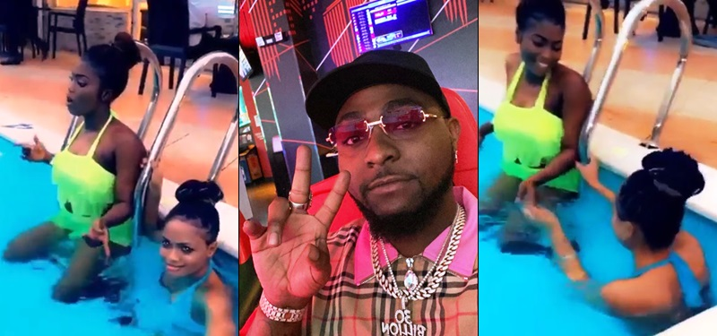 Davido shares video of his pregnancy accusers chilling happily by the poolside (Video)