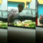 Fruit vendor spotted making incantations and spitting on fruits for sale