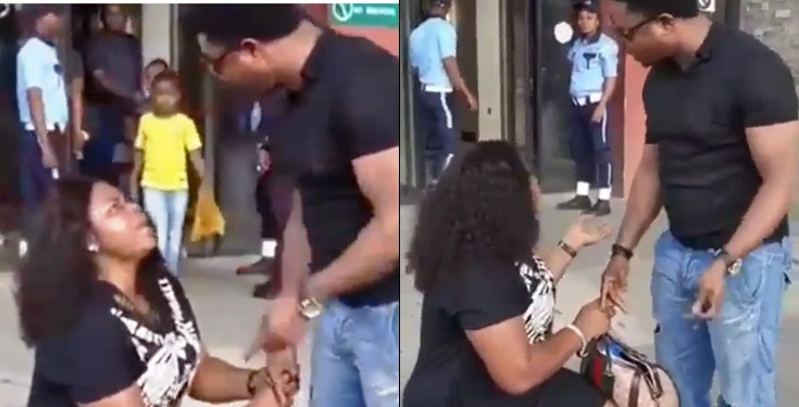 Lady goes on her kneels to beg her boyfriend of 7 years to marry her