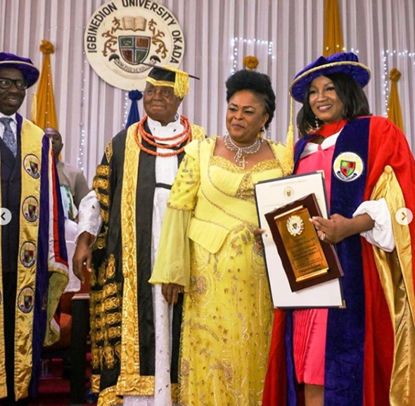 Omotola Jalade Proudly Shares Official Photos Of Her Doctorate Degree Conferment By Igbinedion University