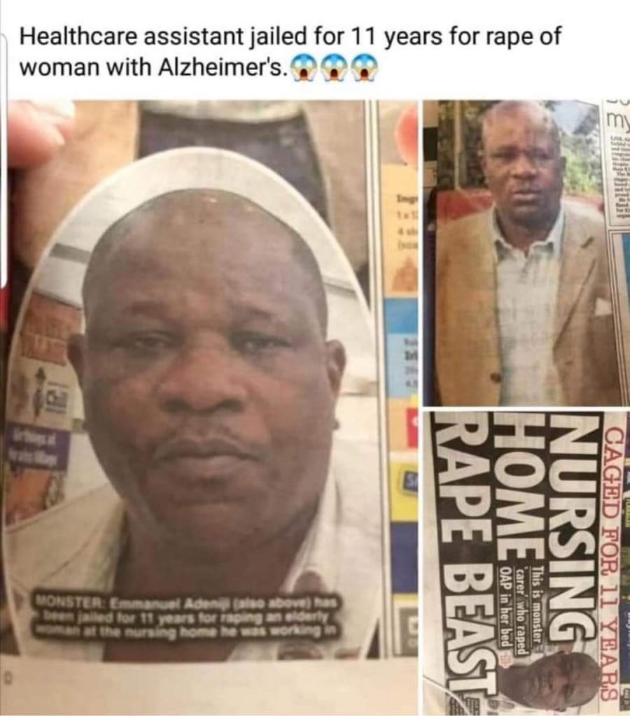 73-yr-old patient raped in nursing home by Nigerian healthcare assistant in Ireland