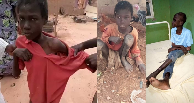 #JusticeForJibril: Nigerians Call For Justice For Boy Who Was Chained with animals for years and forced to eat faeces (Video)
