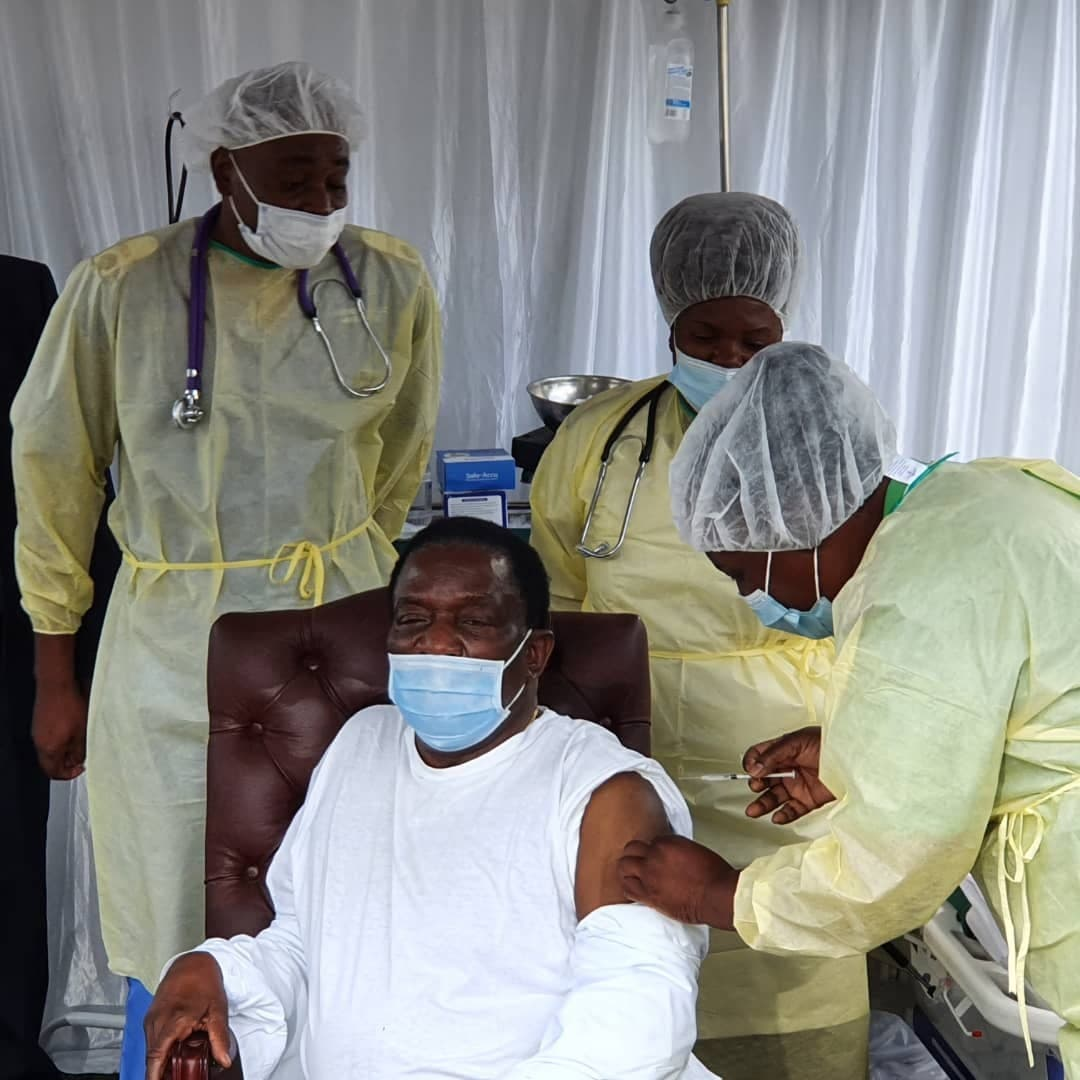 President Mnangagwa Receives Second Shot Of Sinovac Covid-19 Vaccine