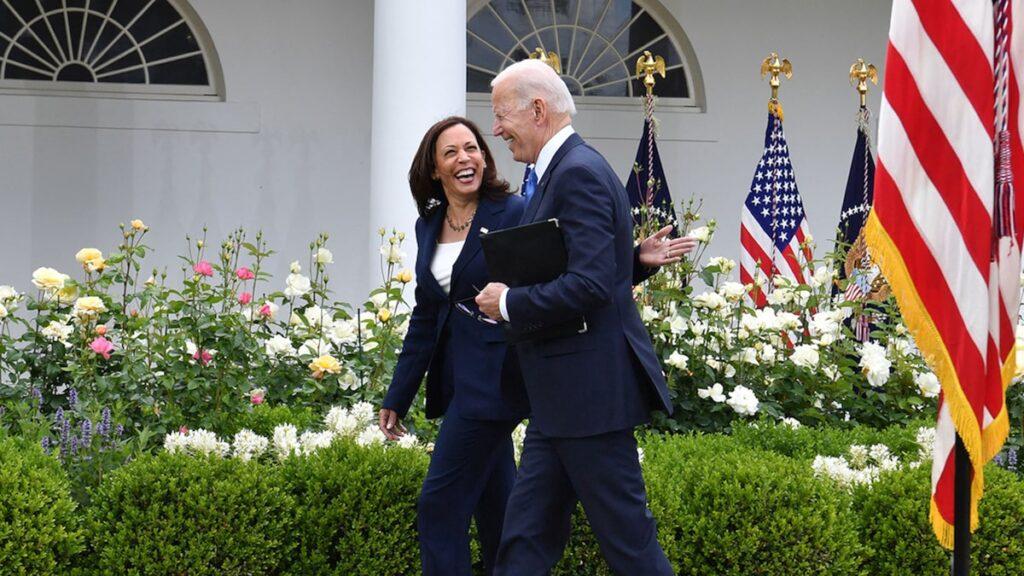 President Biden and VP Harris Smiling Maskless in Rose Garden