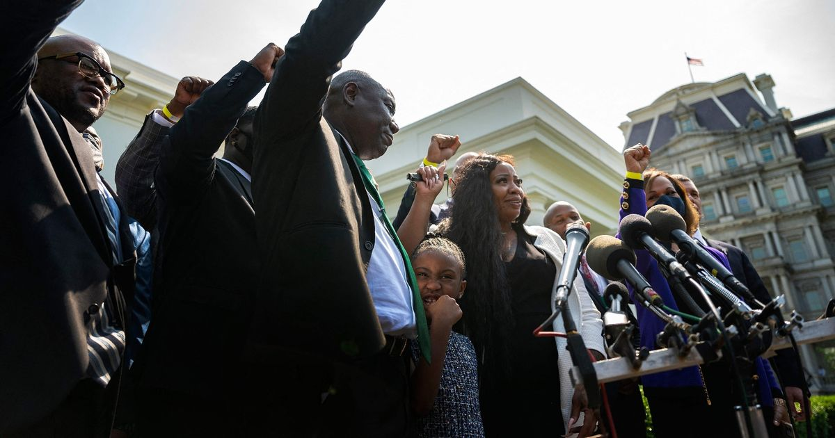 George Floyd's daughter chants 'say his name' outside White House year on from murder