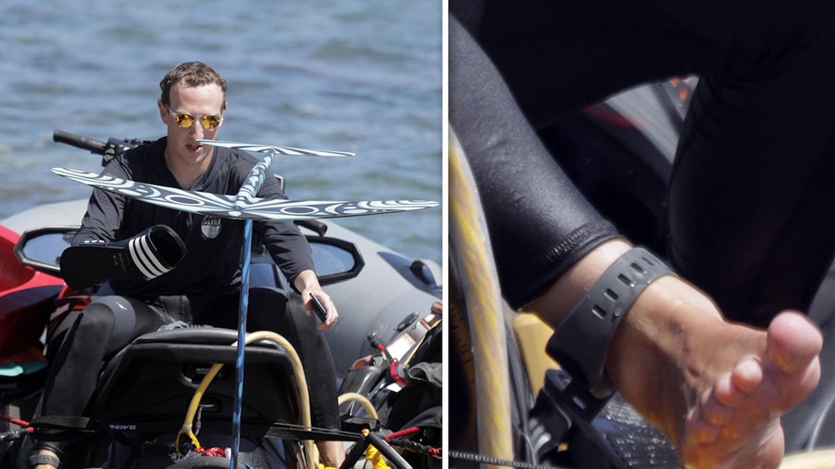 Mark Zuckerberg Surfing with Ankle Bracelet That Drives Sharks Away