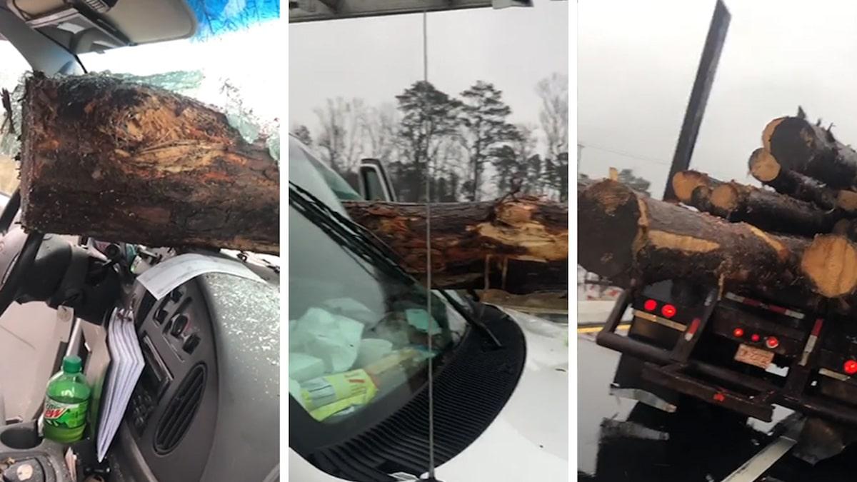 Log Crashes Through Windshield on Freeway, Evokes 'Final Destination'