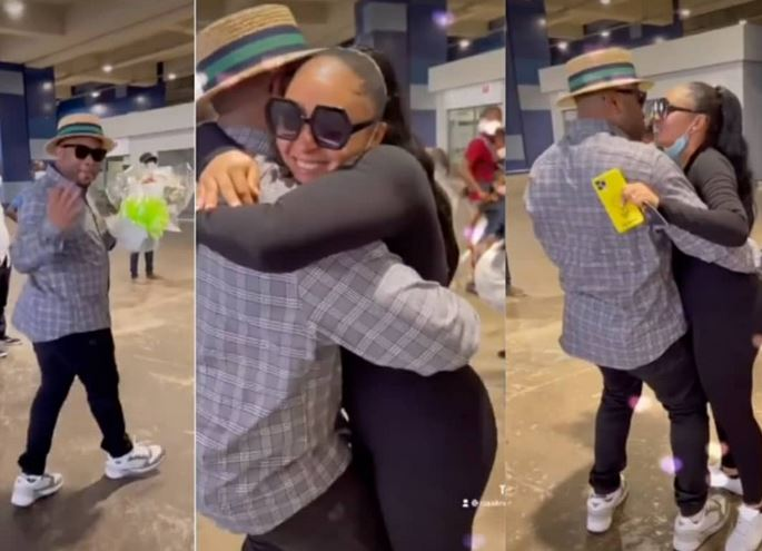 The Romantic Moment Olakunle Churchill Welcomed Wife, Rosy Meurer, As She Returns To Nigeria With Their Son (Video)