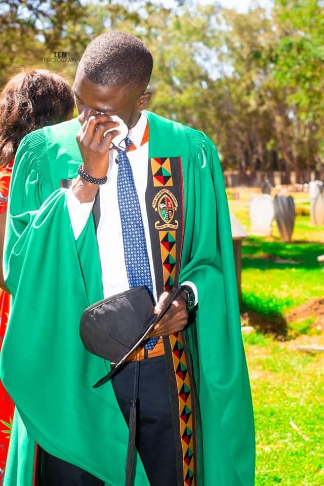 'I Came To Say Thank You' – Young Man Celebrates University Graduation At His Dad's Grave