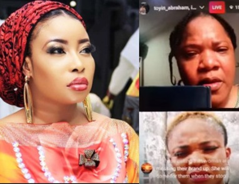 """""""Stop cursing my son and husband""""- Actress Toyin Abraham breaks down in tears as she addresses her issue with Lizzy Anjorin (video)"""