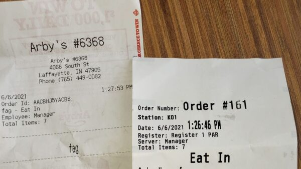 Fast food worker says homophobic slur on customer's receipt was 'computer glitch'
