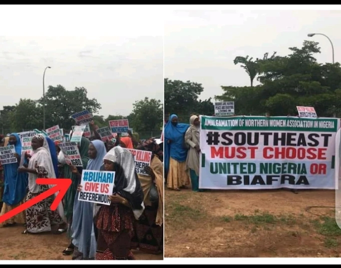"""According to a recent development report reaching Chesterman, a coalition group consisting of northern women has taken to the protest in support of the ongoing Biafra agitation in the Southeast which is being spearheaded by the leader of the Indigenous People of Biafra. Following the unprecedented event which has already gone viral online, the photos attached to the report showed the moment that these northern women who seem to be in solidarity with the Federal government granting the Biafra agitators a referendum were seen carrying placards, posters, and banners which were boldly inscribed with different informations all centered on the activities going on in the East. Studying through the information contained in the placards which they held to the protest ground, it reads, """"Southeast must choose between a united Nigeria or Biafra and Buhari should give us referendum"""". Amidst the recent development which has taken place and considering the fact that the IPOB group which these women are seeking for their referendum is an outlawed group, what is your opinion about this?"""