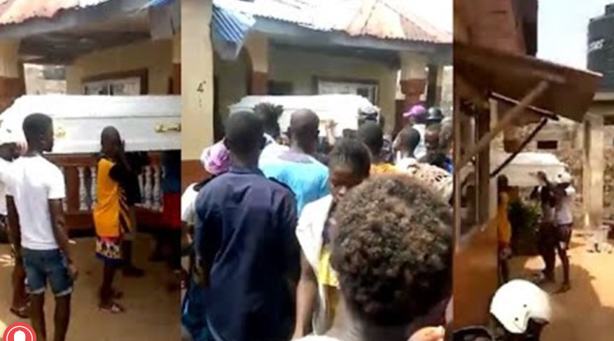 Drama as ''corpse refuses to be buried but leads people to house of suspected ritualist that killed her'' (video)