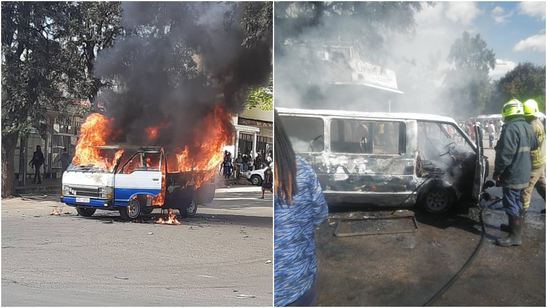 Two Kombis Burnt As Police Clash With Commuter Omnibus Operators In Bulawayo