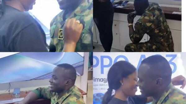 Heartwarming Video of Young Soldier Proposing To His Girlfriend At Her Workplace
