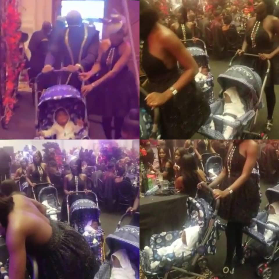Drama As Pretty Mike Storms Toyin Lawani's Wedding With A Number Of Ladies Each Pushing A Baby In A Stroller (Video)