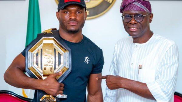 Sanwo-Olu Receives UFC Welterweight Champion, Kamaru Usman In Lagos (Photos)