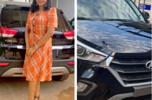 Nigerian Woman Shows Off Brand New Car Her Husband Gave Her As Gift (Photos)