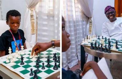 Gov Sanwo-Olu Plays Chess With 10-year-old Champion Ferdinand Maumo