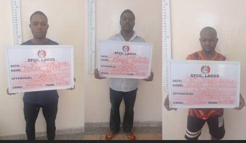 Photo Of 3 Men Nabbed By EFCC For Allegedly Producing Fake British Pounds, US Dollars, Others In Lagos