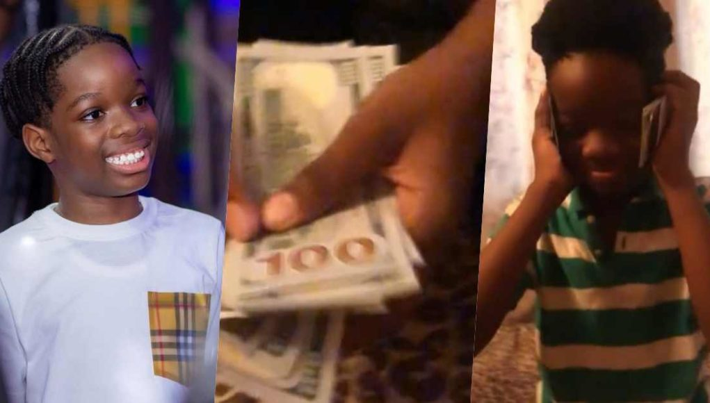 Nigerians React As Wizkid's Son Flaunts N1m Cash Gift From His Father (Video)