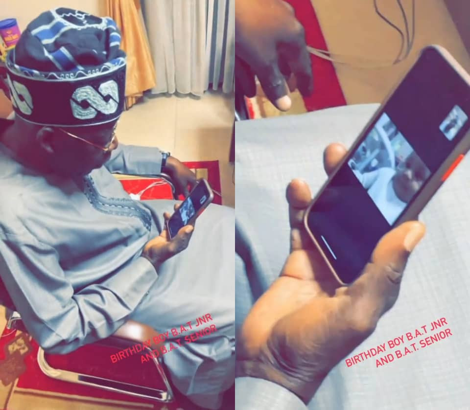 Cute Video Of Bola Tinubu Checking Out His Grandson, Bolatito Tinubu, As He Turns A Year Old