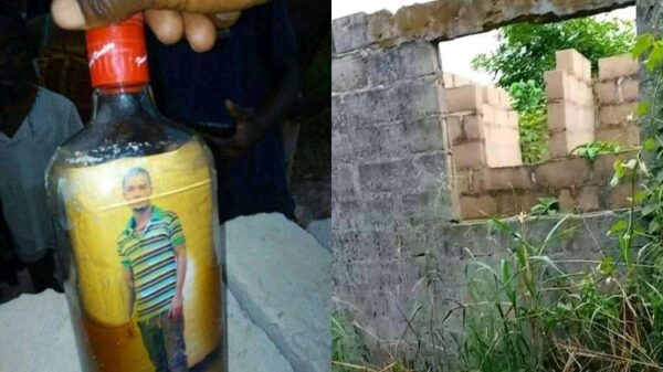 Photo of Turkey-based Nigerian man allegedly found inside a bottle buried in front of his uncompleted building