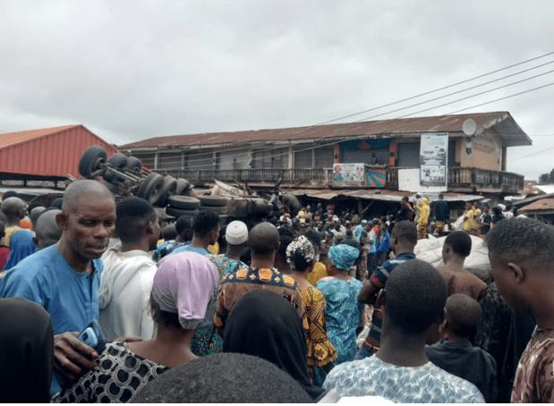 Horror! Many Feared Dead As Gas Tanker Rams Into Market In Ibadan (Photos)