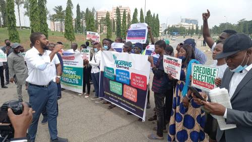 Yesufu, Adeyanju Others Protest At National Assembly Over Plot To Forge Electoral Amendment Bill