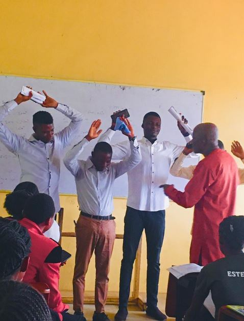 Final Year Students Ordered To Raise Their Hands And Close Their Eyes For Coming Late To Class