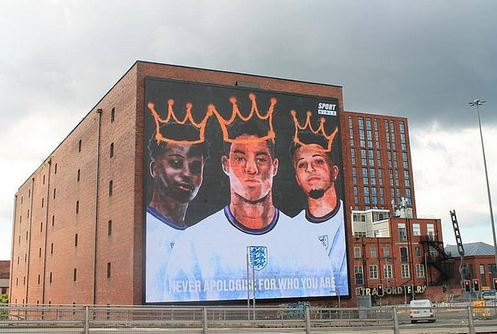 Giant Mural Displayed In Support Of Rashford, Sancho And Saka After They Were Racially Abused Following Loss To Italy