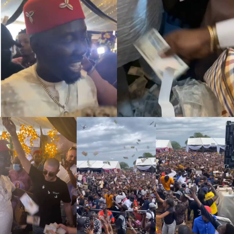 Money Rains At Obi Cubana's Mum's Funeral As Residents And Bouncers Struggle To Pick Money Sprayed (Videos)