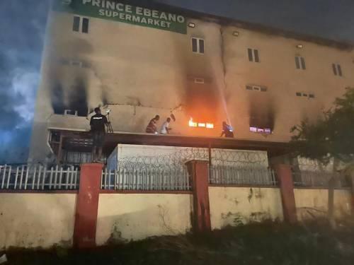 Horror! Fire Guts Ebeano Supermarket In Abuja