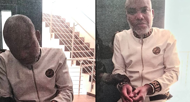 Nnamdi Kanu Clashes With DSS Operatives, Refuses To Answer Questions