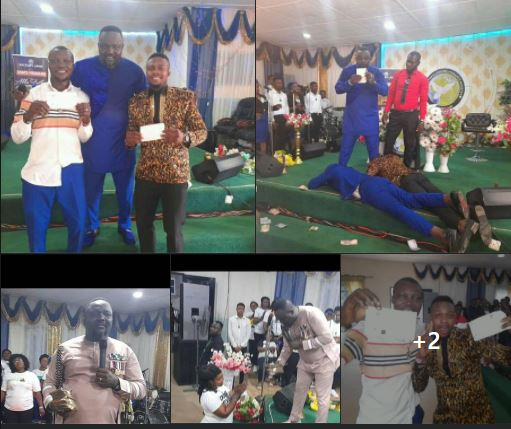 Pastor Shares Money to Church Members In Benin (Photo)