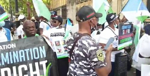 Yoruba Nation Agitators Storm Cotonou Supreme Court, Demand Igboho's Release (Video)