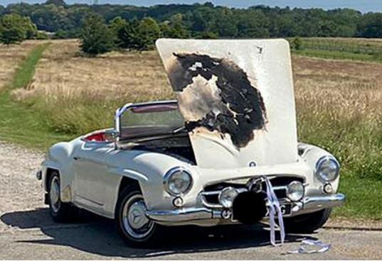 Bride Late To Own Wedding After Vintage Car Catches Fire