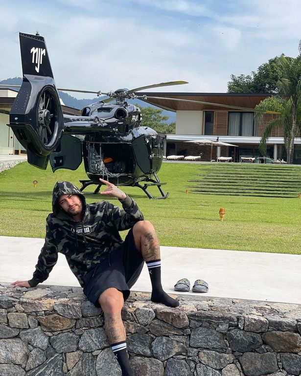 Too Much Money! Neymar Flaunts His £10m Personalised Mercedes Helicopter That Has His Initials (Photo)