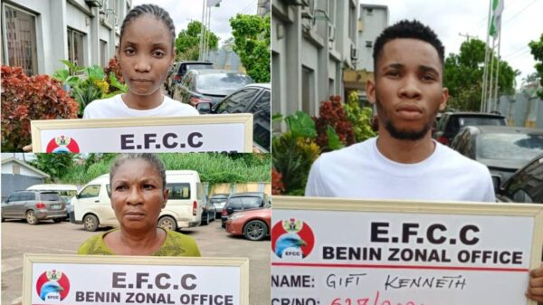 Drama As Nigerian Man Alongside His Mother And Girlfriend Are Jailed For Internet Fraud In Asaba