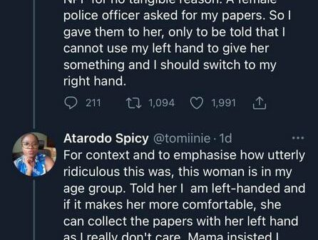 Doctor Narrates How A Female Police Officer Tried To Bully Her For Giving Her Documents Of Her Car With Left Hand
