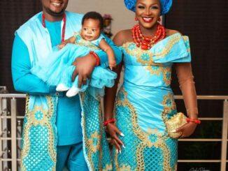 Chacha Eke, Husband Dedicate Newborn Baby in Church (Photos)