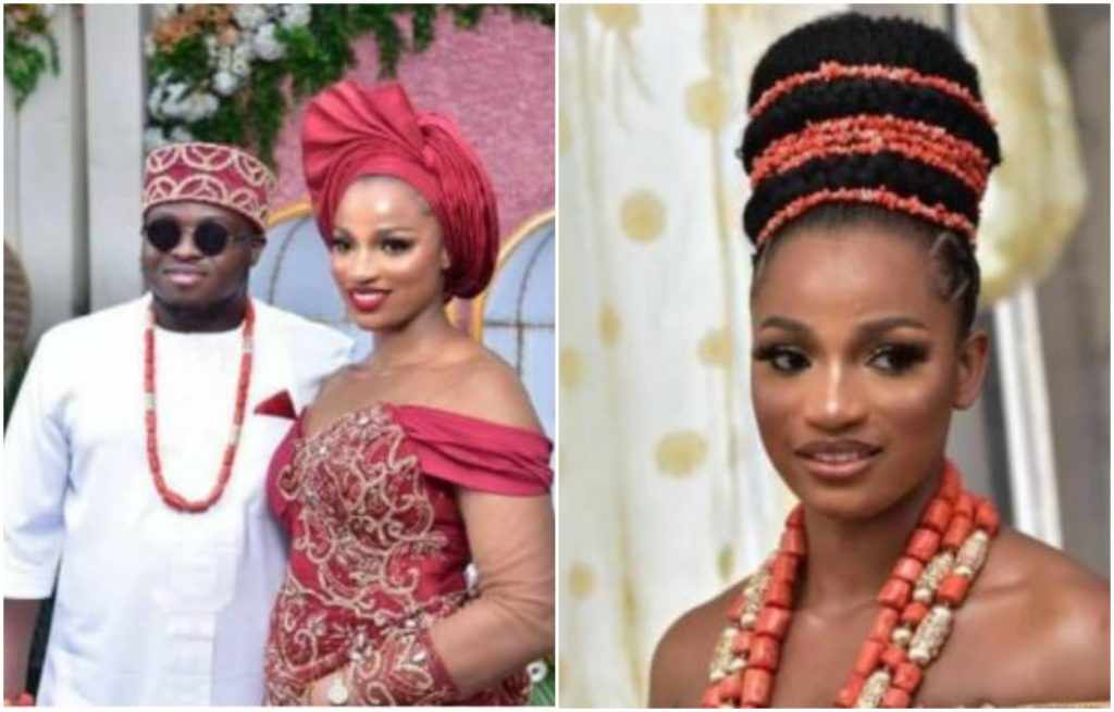 Jachimike and wife, Nkechi at their traditional wedding ceremony