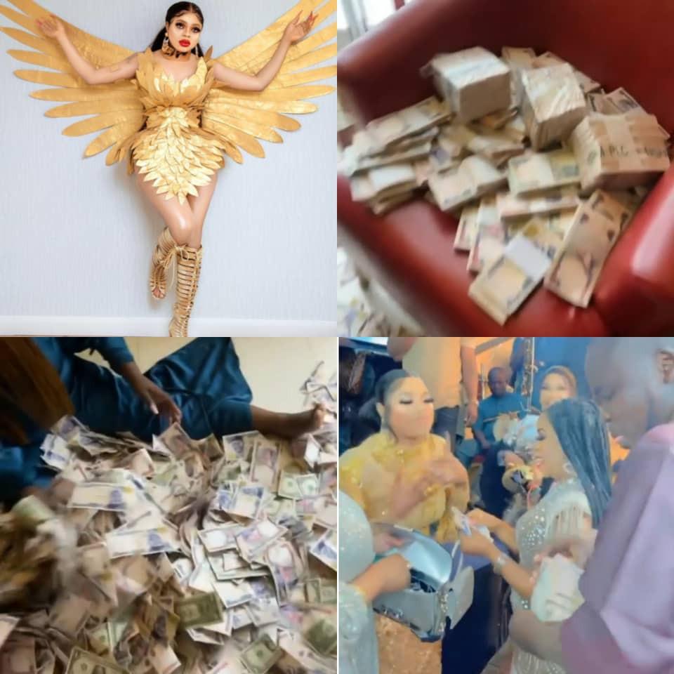 Bobrisky shows off money he was sprayed